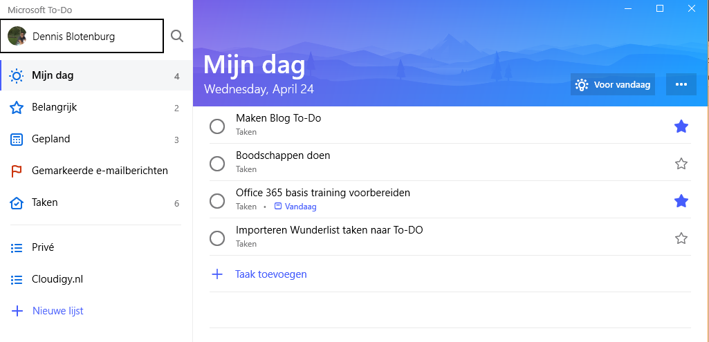 Microsoft To-Do My Day list