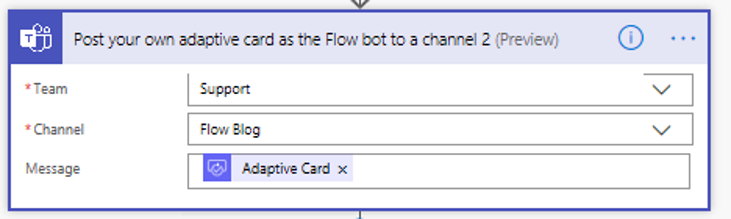 Flow Teams adaptive card settings
